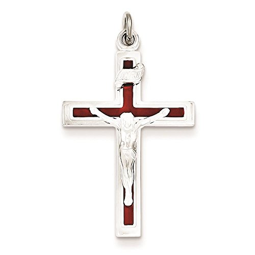 925 Sterling Silver Red Enameled Crucifix Charm Pendant 31mm x 17mm