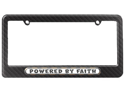 Faith Tag (Graphics and More Powered By Faith License Plate Tag Frame - Carbon Fiber Patterned Finish)