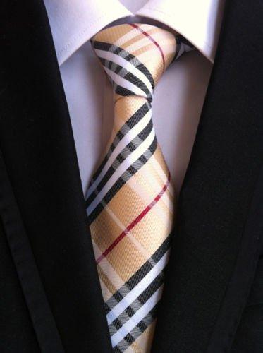 New Classic Checks Beige Black White JACQUARD WOVEN 100% Silk Men's Tie - Jojo Armani