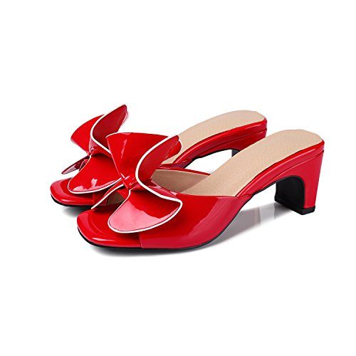 Red Sandals Patent (Odetina Red Women's Sexy Mules Peep Toe Slip-On Cute Bowknot Slides Comfy Mid Heels Dress Pumps Shoes Size 8 (B) M US)