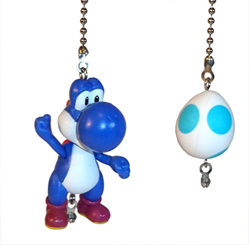 (Mario Bros Ceiling Fan Pull Set by Wooden Androyd Studio (Blue Yoshi & Egg))