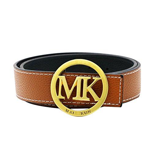 Maikun MK Letter Gold Buckle Women Men Unisex 38mm Brown Leather Adjustable Belt 110cm for Waist Size 32-34