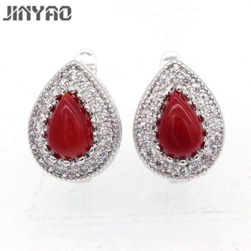 Fashionable Earrings | Gold Color Charming Water Drop Red Coral Zircon Earrings | for Women Gift | Wedding Party Jewelry ()