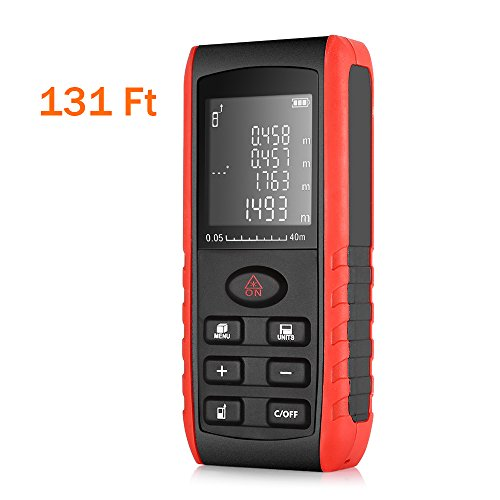 Laser Distance Measure,AUTOLOVER 131FT/40M Portable Handheld Laser Meter For Measure Distance, Area and Volume, Self Calibration Storage (99 units) Range Finder by AUTOLOVER