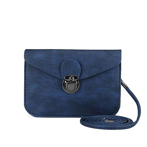 Cross Body Cute Vintage Shabby Ladies Woman Shoulder Bag Blue Vegan Faux Leather Bag with Tuck lock Purse Handbag Adjustable Straps Clutch (Blue) by RedCube