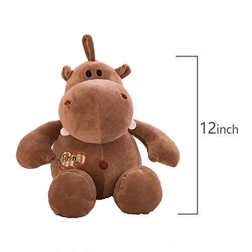 ASAY4u Stuffed Animals Cute Plush Hippo ,Soft Toys for Babies Lovely Plush Toy Gift for Baby and Kids 12 inch (Brown) from ASAY TOYS