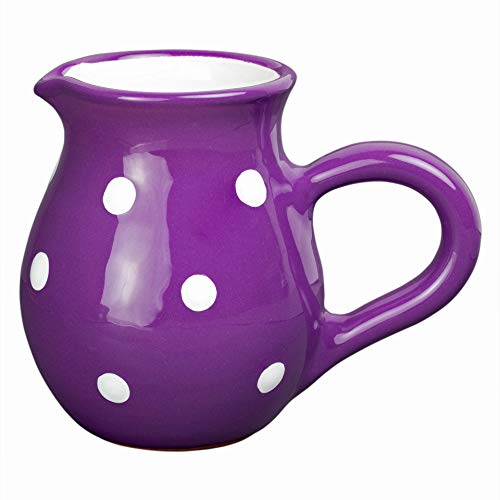 - Handmade Purple and White Polka Dot Ceramic Creamer, Milk Jug, Pourer, Pitcher Jug, Pottery Housewarming Gift for Tea Coffee Lovers by City to Cottage