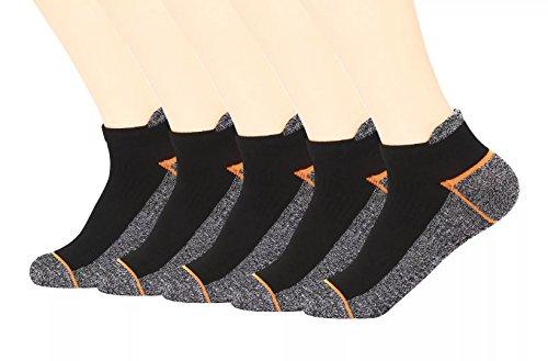 Kodal Copper Antibacterial Athletic Socks for Men and Women-Moisture Wicking, Nonslip Ankle Socks 5 Pack(Orange, Medium)