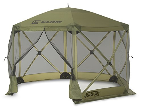 Quick Set 9281 Escape Shelter, 140 x 140 Portable Popup Gazebo Durable Tent Bug and Rain Protection Easy Setup (6-8 Person), Forest, 12 x 12, Green For Sale