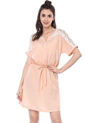 Floral Lace Tie - Allegra K Women's Floral Lace Panel Elastic Waist Above Knee Dress M Pink