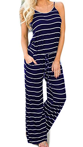 - Artfish Women Sexy Sleeveless Spaghetti Strap Striped Printed Summer Jumpers Jumpsuit with Pocktes(XL, Navy Striped)