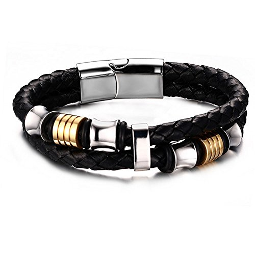 Cheo Rish Wide Braided Leather Bracelet Bangle for Men Black Fabric Genuine Leather Wristband Bangle with Stainless Steel Magnetic (Bracelet Mens Abercrombie)