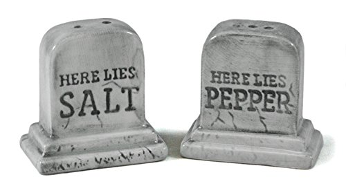 Handpainted Tombstones Here Lies Salt and Pepper Halloween Graves Shaker Set