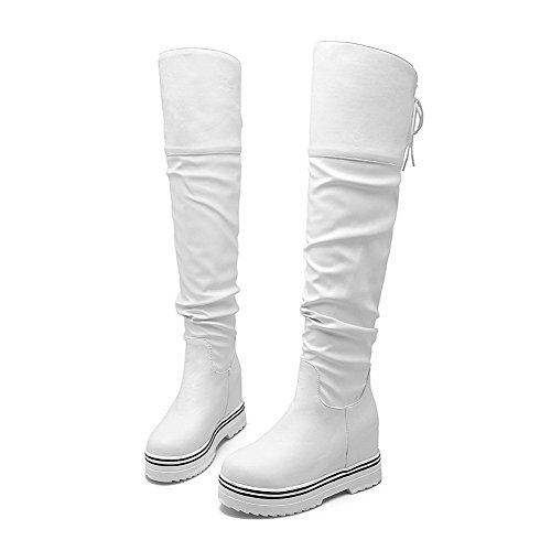 Allhqfashion Women's Round Closed Toe High Top High Heels Solid Pu Boots White OqEelN