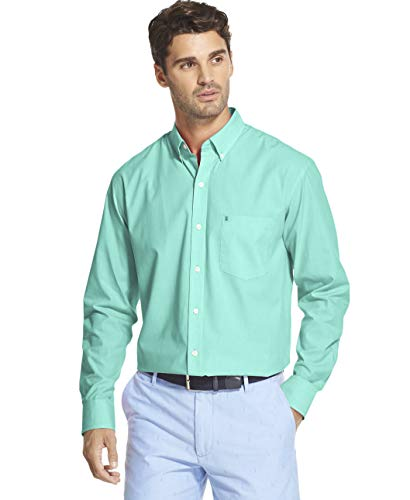 IZOD Men's Button Down Long Sleeve Stretch Performance Solid Shirt, Florida Keys, Large - Florida Long Sleeve Shirt