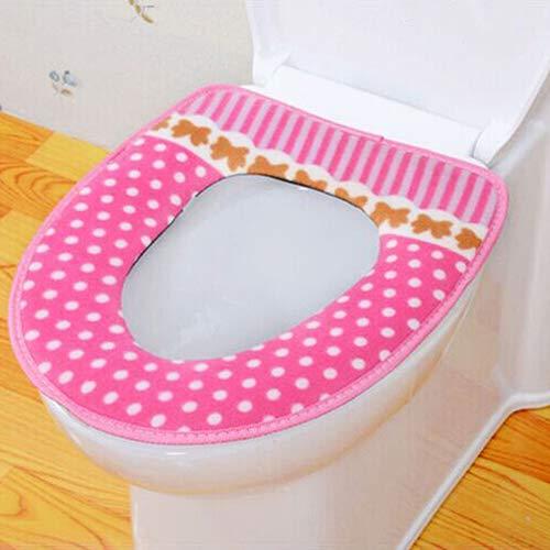 Slendima Cute Dot Stripes Toilet Seat Cover Lid Pad Soft Closestool Warm Mat Bathroom Accessory Pink by Slendima (Image #2)