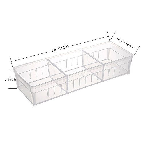 Drawer Organizer, Anumit Clear Plastic Storage Drawers with 2 Adjustable Drawer Dividers for Office, School, Kitchen, Dresser, Desk, Bedroom (2 Pack) by Anumit (Image #4)