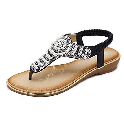Meeshine Womens Summer Thong Flat Sandals T-Strap Bohemian Rhinestone Slip On Flip Flops Shoes