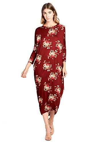 12 Ami Solid Long Sleeve Cover-Up Maxi Dress Burgundy Floral Medium