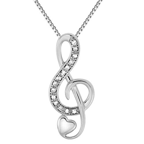 JewelExclusive Sterling Silver 1/0 CTTW Diamond Music Note Heart Pendant