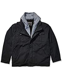 Men's Washed Cotton Hooded Military Jacket (Regular and Big and Tall Sizes)