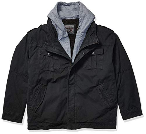 Levi's Men's Washed Cotton Hooded Military Jacket (Regular and Big and Tall Sizes), Black, XX-Large
