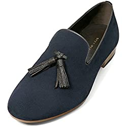 Zara Men Blue leather loafers with tassels 2118/202 (46 EU | 13 US | 12 UK)
