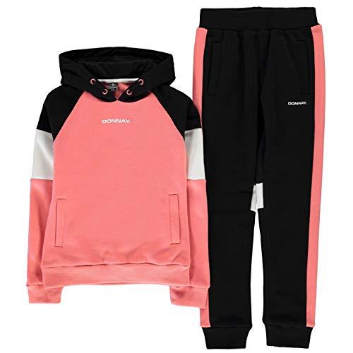 Donnay Kids Girls Oth Sweatsuit Junior Fleece Tracksuit Black/Coral 13 (XL)