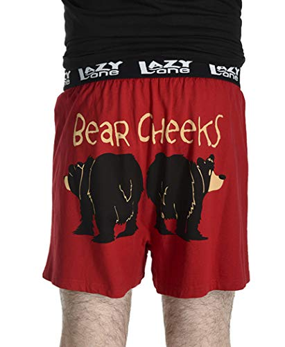 Bear Cheeks Soft Comical Boxers for Men by LazyOne | Funny Mens Boxers (Large)
