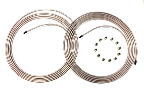 20 Feet of 1/4 inch Copper/Cupronickel Brake Line Tubing with Fittings (2-10 foot coils) (Line Brake 20)