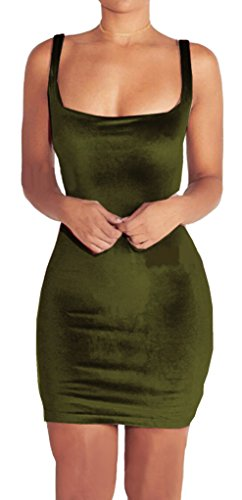 Longwu Women's Sexy Velvet Sleeveless Bodycon Cocktail Slim Fit Evening Party Dress Green-XL