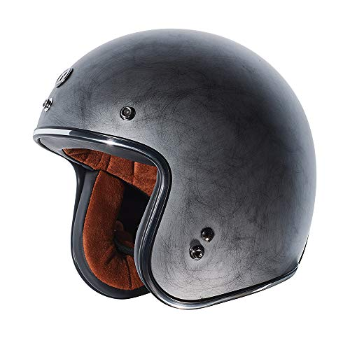 TORC Unisex-Adult Open Face Motorcycle Helmet Flat Black Weathered Silver Large