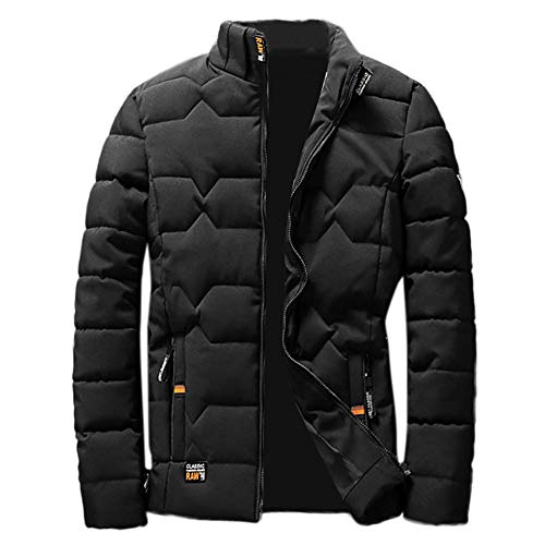 FIRERO Mens Winter Zipper Thickening Jacket Men's Pockets Solid Coat Outwear