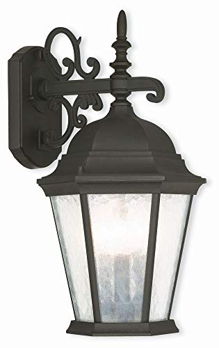 Livex Lighting 75466-14 Textured Black Outdoor Wall Lantern with Clear Water Glass