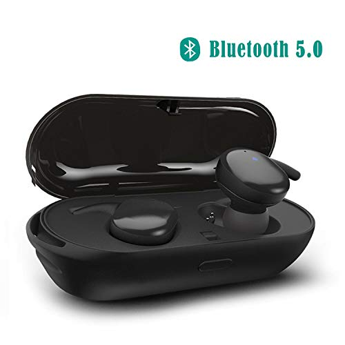 Supkiir True Wireless Headphones Upgraded Bluetooth 5.0 Headphones Waterproof Earbuds with Portable Charger Built-in Mic Deep Bass Noise Cancelling