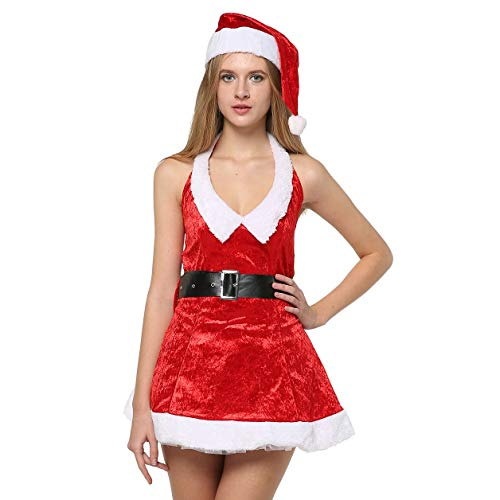 EraSpooky Women's Christmas Santa Costumes Mrs Claus Costume for Women Santa Outfit Dress - Funny Cosplay Party