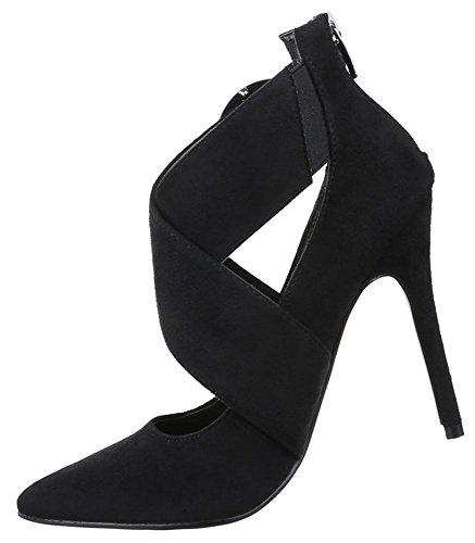 1892e96fc639 ... Damen Pumps Schuhe High Heels Stiletto Abendschuhe Schwarz Blau 36 37  38 39 40 41 Schwarz ...