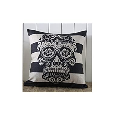 LINKWELL 45x45cm Skull Stripe Halloween All Hallows' Eve Gift Present Linen Cushion Covers Pillow Cases Trick-or-treating