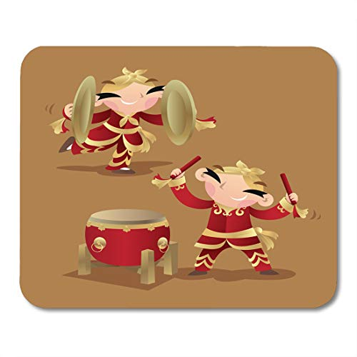 (Emvency Mouse Pads Cartoon Bliss Chinese Kids Playing Drum and Cymbals Boys Celebrating Mouse Pad 9.5