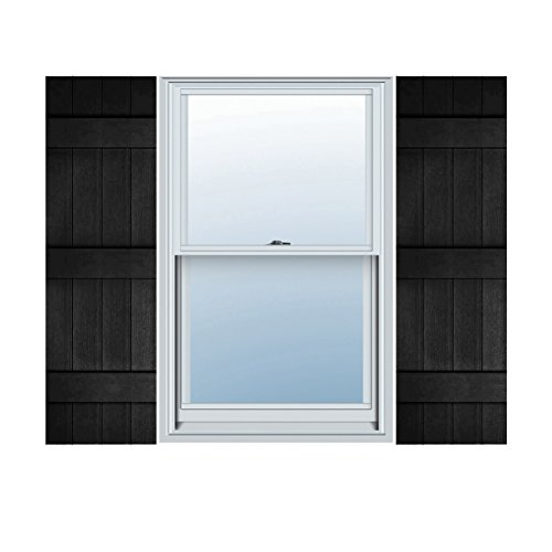 Ekena Millwork LJ4S14X05900BL Lifetime Vinyl, Standard Four Board Joined, Board-n-Batten Shutters, w/Installation Shutter-Lok's & Matching Screws (Per Pair), 14'' W x 59'' H, Black by Ekena Millwork