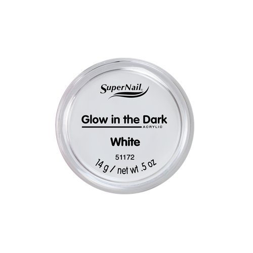 Super White Nail Powder (Supernail Glow In The Dark Acrylic Powder White, 0.5 Ounce)