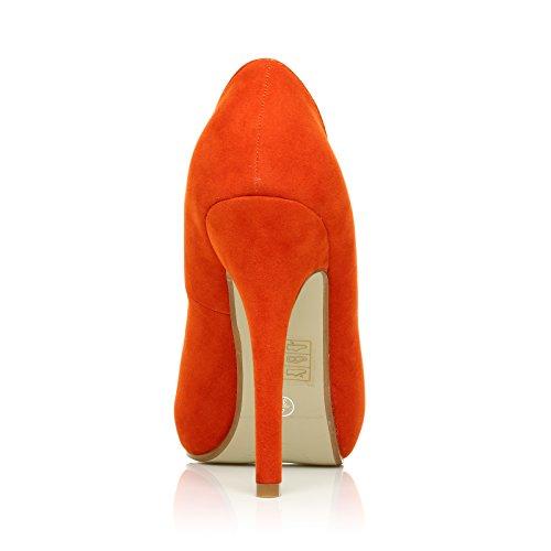 Absatz hohem mit Wildleder Absatz Peep Schuhe TIA Orange und Wildleder Toe XxIPWOvw