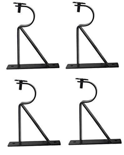 Curtain Rod Brackets (Set of 4) - Black (Also known as - Curtain rod Holder / Curtain rod Bracket / Bracket for Drapery rod / Bracket set for Draperies rod / Brackets for curtains rod) (Curtain Bracket 4 Rod)