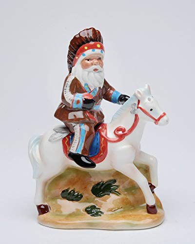 Fine Ceramic Santa in Native Indian Outfits Riding White Horse Salt & Pepper Shakers Set, 5-1/8