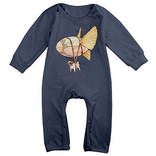 Steampunk Pug Newborn Baby Long Sleeves Climbing Clothes Boy's & Girl's Triangle Bodysuit Size 6 M Navy - Joker Steampunk