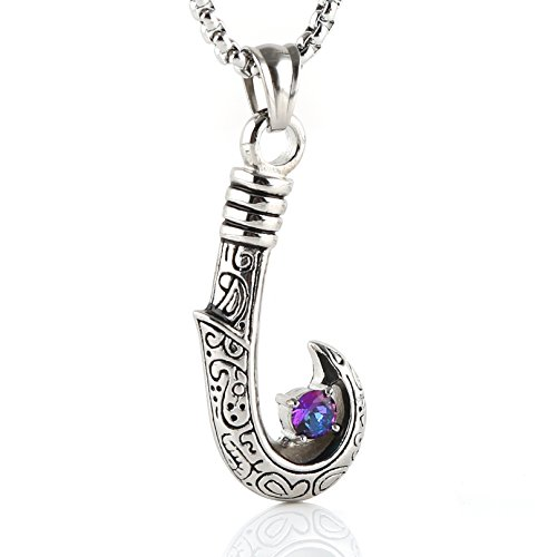 - HZMAN Hawaiian Fish Hook Stainless Steel Pendant Necklace | Hawaiian Tattoo