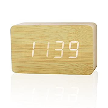 Home Cube� Wooden Rectangle Shape (10.3 cm X 6.8 cm) Digital Electronic Alarm Table Desk Clock with Temperature + Date + Time Display XY - 024 (Cream Color)