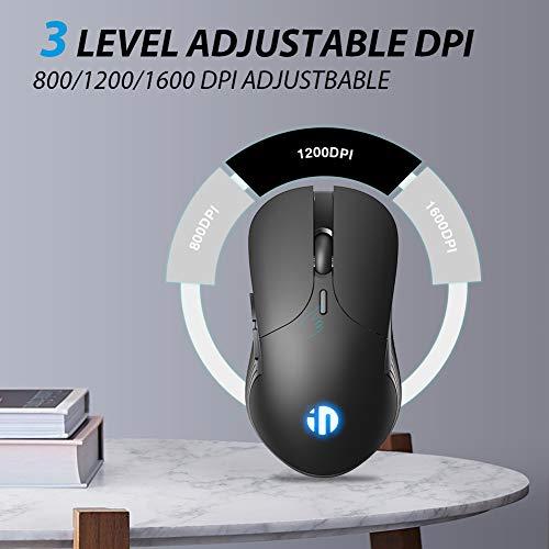 INPHIC Wireless Mouse Wiederaufladbare, 2.4G Silent Computer Wireless Mouse, 1600 DPI, 6 Tasten Mäuse für Laptop Notebook, PC, MacBook Durable Slim, Business Office Home Mouse (schwarz)