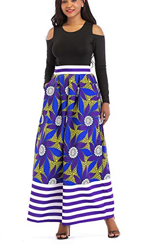 VLUNT Women's African Floral Print A Line Long Skirt Pockets Two Pieces Maxi Dress Blue