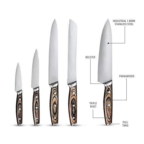 Steel Cutlery With Wooden Holder - Art & Cook Elite 6PC Magnetic Knife Block Set by Ar+cook (Image #3)